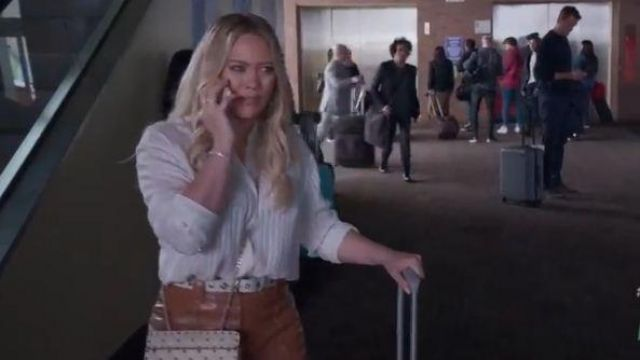 Saint Laurent White Striped Blouse outfit worn by Kelsey Peters (Hilary Duff) in Younger (S06E10) - TV Show Outfits and Products
