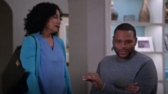 Saks Fifth Avenue Collection Cashmere Sweater outfit worn by Andre 'Dre' Johnson (Anthony Anderson) in black-ish (Season 02 Episode 16) - TV Show Outfits and Products