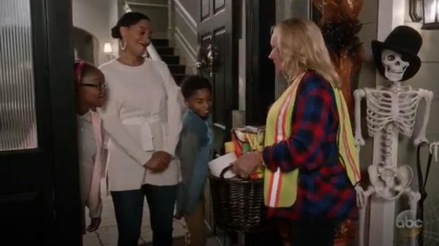 Sandro Belted Wool And Cashmere Blend Sweater outfit worn by Rainbow Johnson (Tracee Ellis Ross) in black-ish (S03E05) - TV Show Outfits and Products