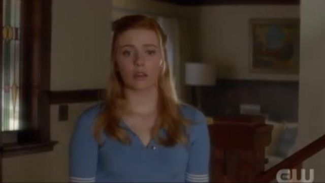 Sandro Eleonore Polo-Style Rib-Knit sweater in blue outfit worn by Nancy Drew (Kennedy McMann) in Nancy Drew Season 1 Episode 1 - TV Show Outfits and Products