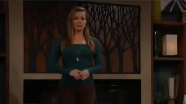 Sandro Green Ribbed Sweater outfit worn by Chelsea Lawson Newman (Melissa Claire Egan) as seen on The Young and the Restless November 14, 2019 - TV Show Outfits and Products