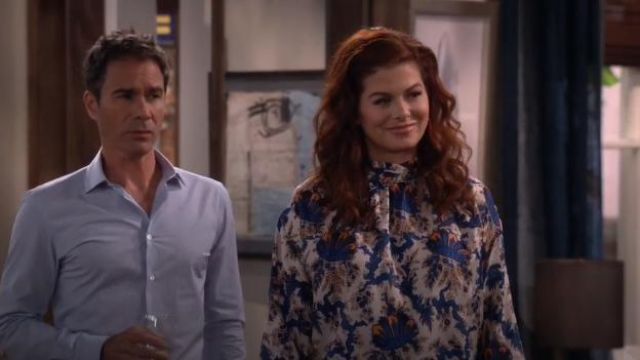 Sandro Liliane Silk Blouse outfit worn by Grace Adler (Debra Messing) in Will & Grace (S02E10) - TV Show Outfits and Products