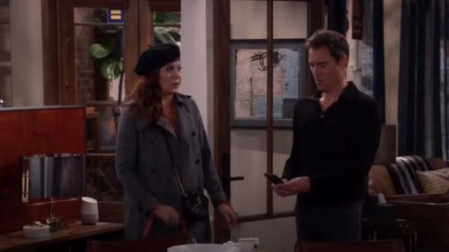 Sandro Long Plaid Coat outfit worn by Grace Adler (Debra Messing) in Will & Grace (S02E14) - TV Show Outfits and Products