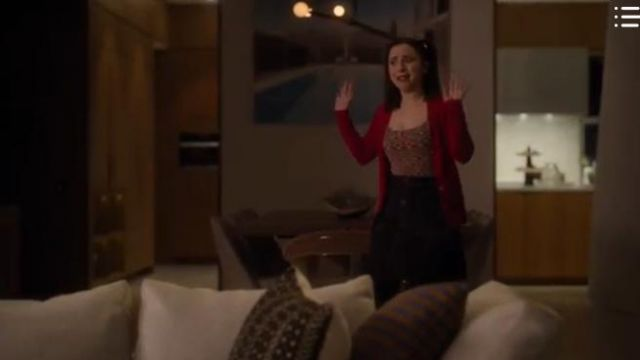 Sandro Paris Navy Mini Skirt outfit worn by Izzy Levine (Esther Povitsky) in Dollface Season01 Episode07 - TV Show Outfits and Products