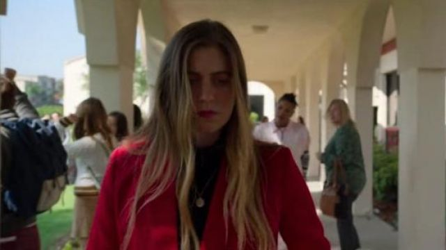 Sandro Red Billy Double-Breasted Swiss Dot-Effect Blazer outfit worn by McAfee Westbrook (Laura Dreyfuss) in The Politician Season 1 Episode 7 - TV Show Outfits and Products