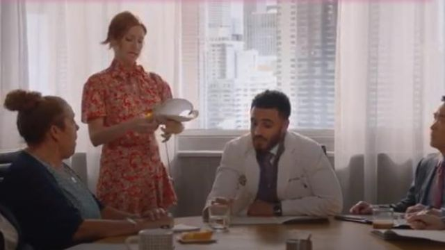 Sandro Red Lane Paisley Mini Dress outfit worn by Julia Bechley (Brittany Snow) in Almost Family Season 1 Episode 2