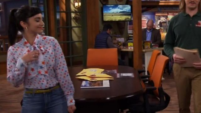 Sandro Space Tie-neck Silk Shirt outfit seen on Mandy Baxter (Molly McCook) in Last Man Standing (S06E22)