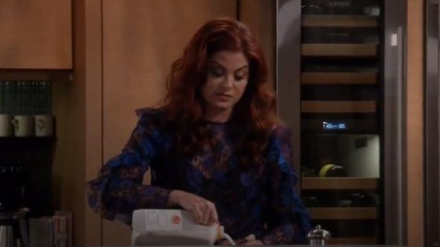 Sandro Top in Paisley Print Lace outfit worn by Grace Adler (Debra Messing) in Will & Grace (S01E13) - TV Show Outfits and Products