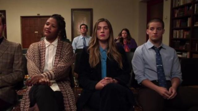 Sandro blue silk shirt with pussy bow collar outfit worn by McAfee (Laura Dreyfuss) in The Politician Season 1 Episode 6 - TV Show Outfits and Products