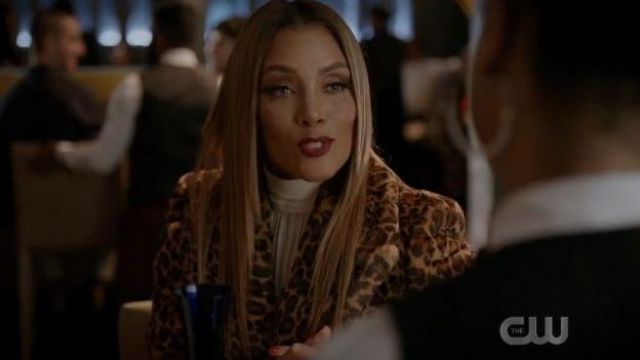Sara Battaglia Leopard Print Cropped Jacket outfit worn by Dominique Deveraux (Michael Michele) in Dynasty Season 3 Episode 6 - TV Show Outfits and Products