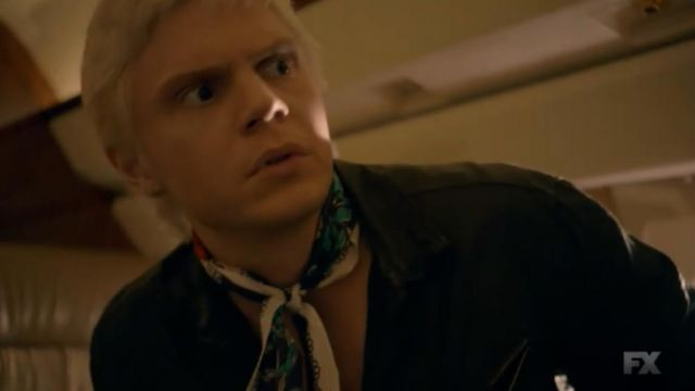 Scarf Echo of Mr. Gallant (Evan Peters) seen in American Horror Story Revelation (Season 8 Episode 1) - TV Show Outfits and Products