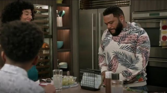 Scotch & Soda Palm Leaf Print Pullover Hoodie outfit worn by Andre 'Dre' Johnson (Anthony Anderson) in black-ish Season 6 Episode 3 - TV Show Outfits and Products