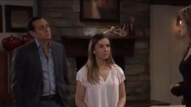 Scotch & Soda V Neck Ruffle Sleeve Top & Necklace outfit worn by Lexi Ainsworth as seen in General Hospital May 7, 2019 - TV Show Outfits and Products