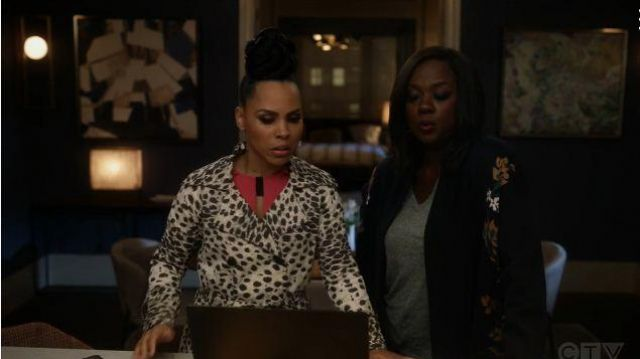 Sea White Leopard Print Coat outfit worn by Tegan Price (Amirah Vann) in How to Get Away with Murder Season 06 Episode 07 - TV Show Outfits and Products