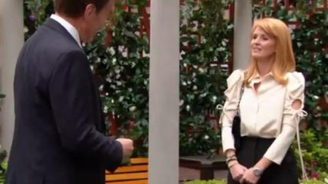 See by Chloe Puff sleeved cut-out crepe blouse outfit worn by Wendy Benson-Landes as seen in The Young and the Restless June 18,2019 - TV Show Outfits and Products