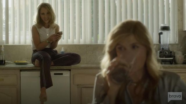 Fashion Trends 2021: See by Chloe Striped Straight Leg Trousers outfit seen on Veronica Newell (Juno Temple) in Dirty John S01E08