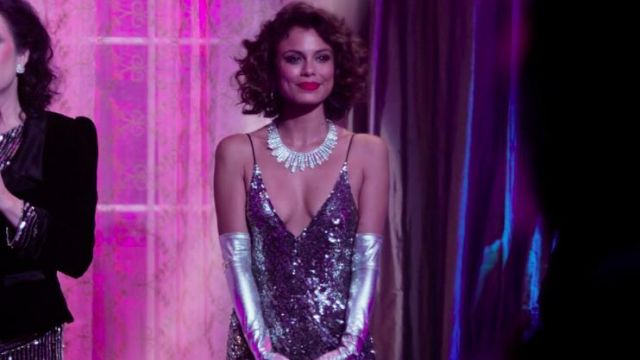 Fashion Trends 2021: Sequined dress silver Crystal Flores Carrington (Nathalie Kelley) at the ball of charity Carrington in Dynasty Season 1 Episode 3