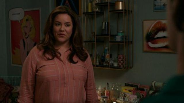 Seven7 jeans pink striped shirt outfit worn by Katie Otto (Katy Mixon) in American Housewife Season 04 Episode 03 - TV Show Outfits and Products