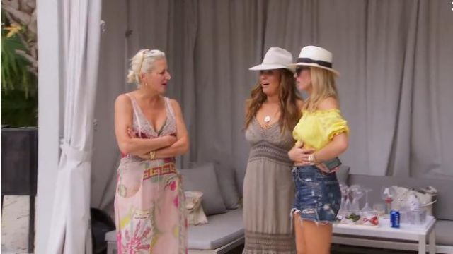 She Made Me Kali Off the Shoulder Sunsuit Top outfit worn by Tinsley Mortimer in The Real Housewives of New York City (S11E15) - TV Show Outfits and Products