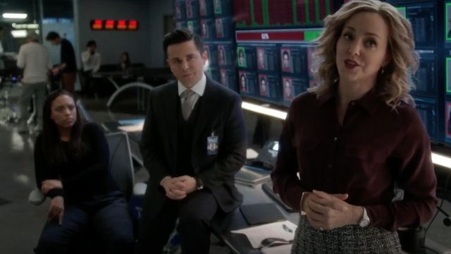 Shirt brown Equipment carried by Marissa Morgan (Geneva Carr) seen in Bull Season 2E16 - TV Show Outfits and Products