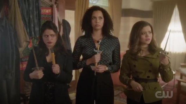 Shirt dark green printed Topshop range by Macy Vaughn (Madeleine Mantock) seen in Charmed Season 1 Episode 4 - TV Show Outfits and Products