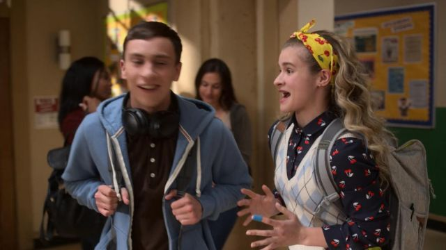 Shirt is black with printed cherries Topshop Paige (Jenna Boyd) seen in Atypical (Season 2 Episode 7) - TV Show Outfits and Products