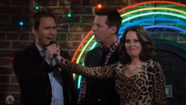 Shirt leopard Saint Laurent Karen Walker (Megan Mullally) seen in Will & Grace S10 Episode 5 - TV Show Outfits and Products