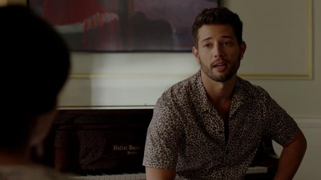 Shirt leopard print outfit worn by Sam Jones (Rafael de la Fuente) seen in Dynasty Season 2 Episode 5 - TV Show Outfits and Products