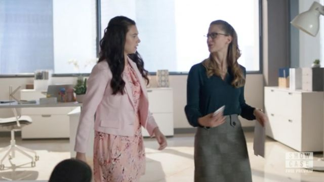Skirt gray Charles Richler outfit worn by Kara Danvers (Melissa Benoist) seen in Supergirl Season 4 Episode 1 - TV Show Outfits and Products