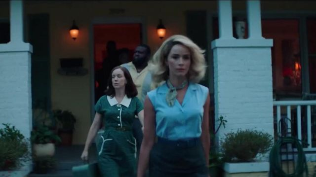 Sky blue sleeveless open collar blouse outfit worn by Doris Dearie (Abigail Spencer) in Reprisal (S01) - TV Show Outfits and Products