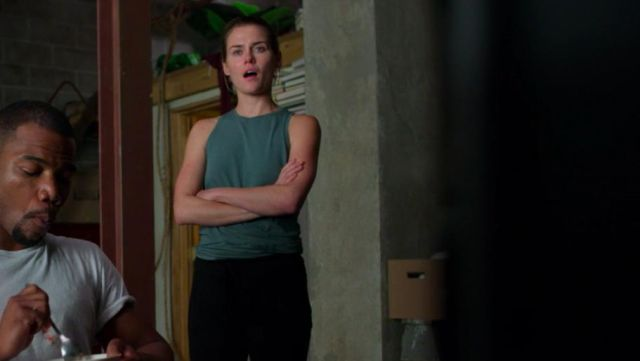 Sleeveless blue tank outfit worn by Trish Walker (Rachael Taylor) in Marvel's Jessica Jones (S03E02) - TV Show Outfits and Products