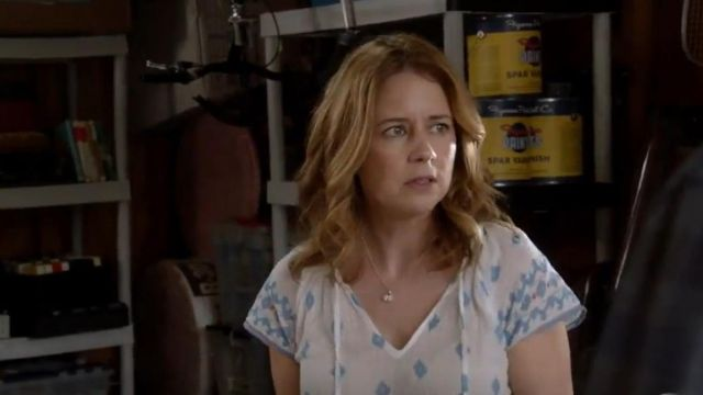 Fashion Trends 2021: Soft Joie Dolan B Top outfit seen on Lena (Jenna Fischer) in Splitting Up Together (S01E05)
