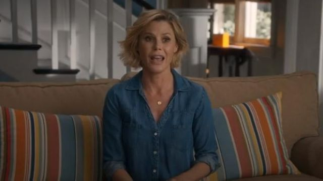 Soft joie blue soft brady chambray shirt outfit worn by Claire Dunphy (Julie Bowen) in Modern Family Season 11 Episode 2 - TV Show Outfits and Products
