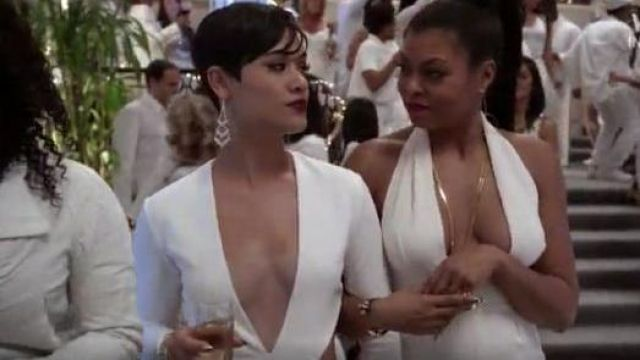 Solace London Nolan Dress in White outfit seen on Grace Byers in Empire (S01E08)
