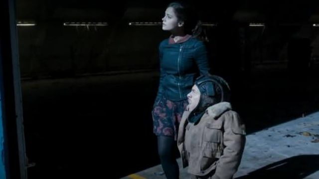 Sparkle and Fade at Urban Outfitters Carnation zip skirt outfit seen on Clara (Jenna Coleman) in Doctor Who (S07E12) - TV Show Outfits and Products