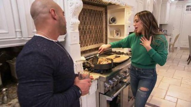 Spiritual Gangster Green Heart Sweatshirt outfit worn by Melissa Gorga in The Real Housewives of New Jersey Season 10 Episode 02 - TV Show Outfits and Products