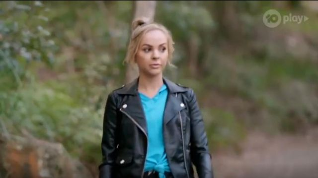 Sportsgirl Classic Leather Biker Jacket outfit worn by Angie Kent in The Bachelorette Season 05 Episode 10 - TV Show Outfits and Products