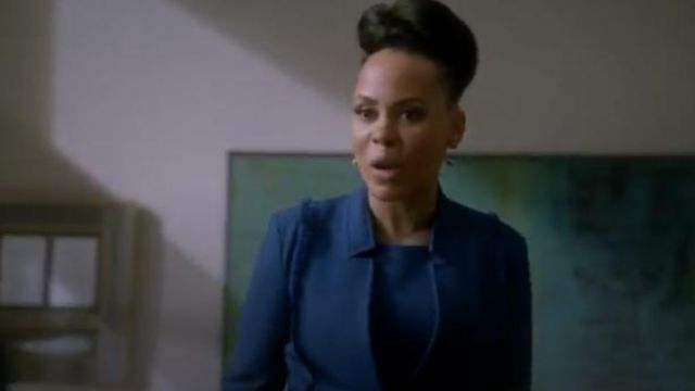 St. John Collection blue sleeveless gridded texture knit dress outfit worn by Tegan Price (Amirah Vann) in How to Get Away with Murder Season 6 Episode 2 - TV Show Outfits and Products