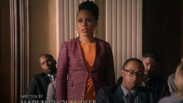 St. John Purple Plunging V-Neck Ombre Ribbon Tweed Jacket outfit worn by Tegan Price (Amirah Vann) in How to Get Away with Murder Season 6 Episode 8 - TV Show Outfits and Products