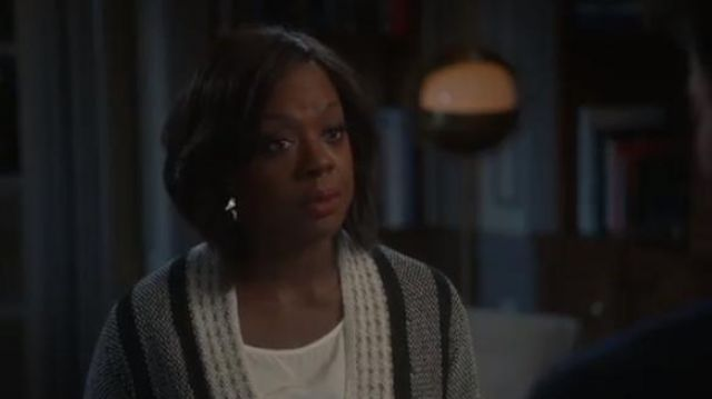 St. John collection grey linear basket stripe knit cardigan outfit worn by Annalise Keating (Viola Davis) in How to Get Away with Murder Season 6 Episode 2 - TV Show Outfits and Products