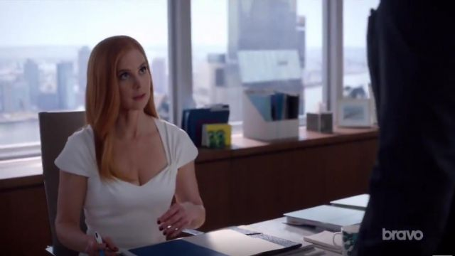 Fashion Trends 2021: Stella McCartney Amal Stretch Cady Cap Sleeve Dress outfit worn by Donna Paulsen (Sarah Rafferty) in Suits (S09E06)