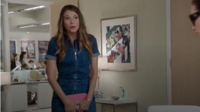 Fashion Trends 2021: Stella McCartney Denim Jumpsuit outfit worn by Liza Miller (Sutton Foster) in Younger (S03E01)