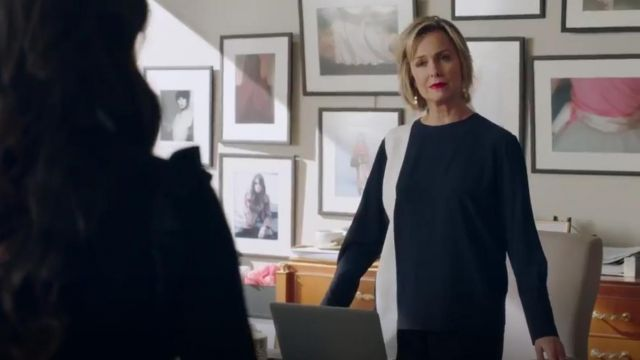 Fashion Trends 2021: Stella McCartney Draped Two Tone Silk Crepe Top outfit seen on Jacqueline Carlyle (Melora Hardin) in The Bold Type (S02E07)