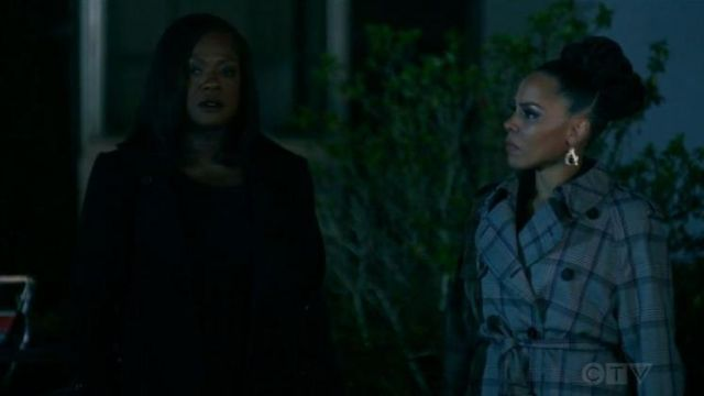 Fashion Trends 2021: Stella McCartney Plaid Trench Coat outfit worn by Tegan Price (Amirah Vann) in How to Get Away with Murder Season 06 Episode 09