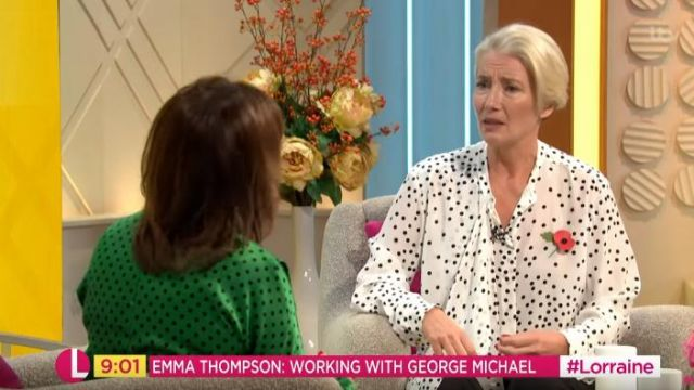 Fashion Trends 2021: Stella Mccartney Black and White Polka-dot blouse outfit worn by Emma Thompson as seen on Lorraine November 11, 2019