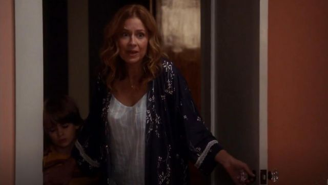 Fashion Trends 2021: Stripe Camisole Pajama Top outfit seen on Lena (Jenna Fischer) in Splitting Up Together (S02E03)