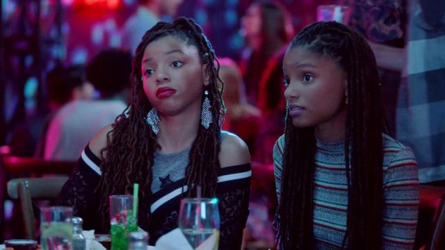Fashion Trends 2021: Striped dress Forever 21, and Skylar Forster (Halle Bailey) seen in Grown-ish Season 1E10