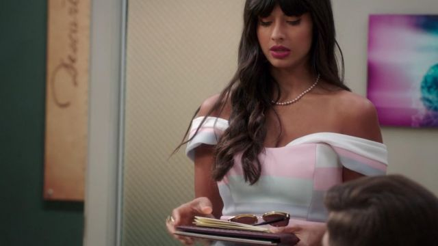 Striped dress of Ms. Al-Jamil (Jameela Jamil) seen in The Good Place (Season 3 Episode 2) - TV Show Outfits and Products