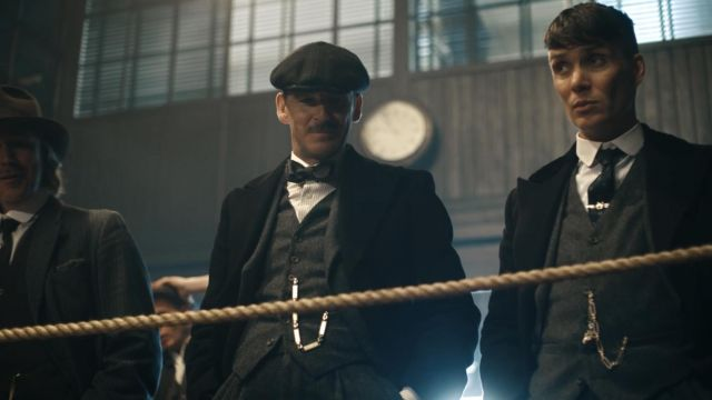 Fashion Trends 2021: Striped shirt white and grey of Arthur Shelby Junior (Paul Anderson) seen in Peaky Blinders Season 4 Episode 2