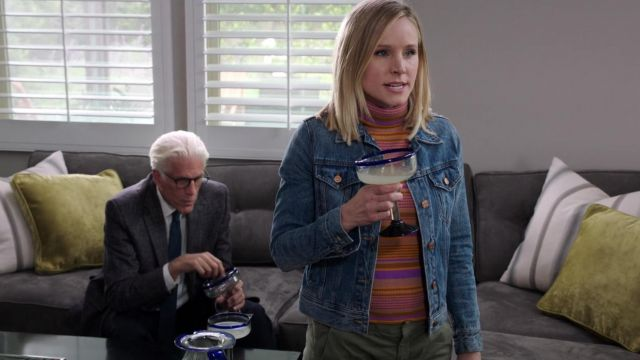 Striped sweater A. L. C. outfit worn by Eleanor Shellstrop (Kristen Bell) seen in The Good Place Season 3 Episode 6